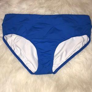 Lands End royal blue high waist slimming bikini 12